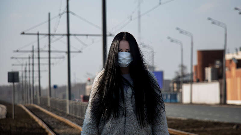 coronavirus covid-2019 Girl in mask in the street