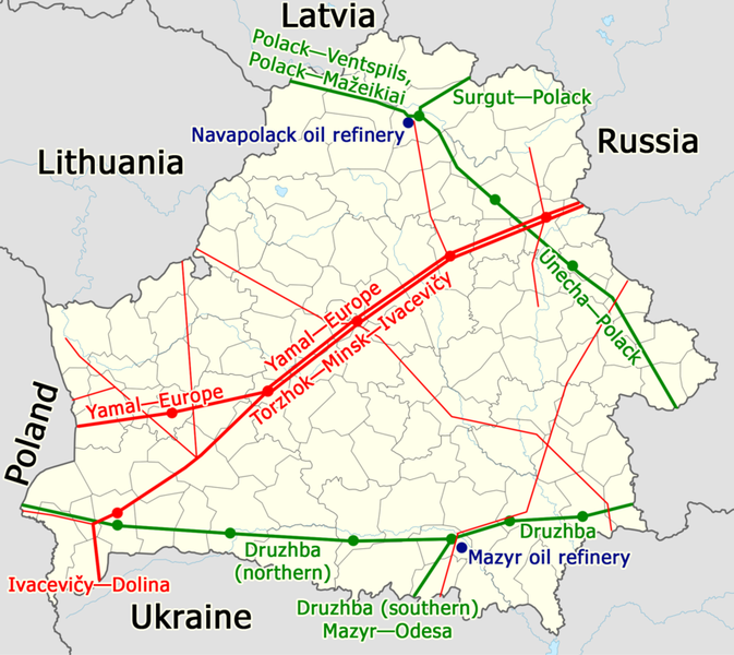 861px major gas and oil pipelines in belarus