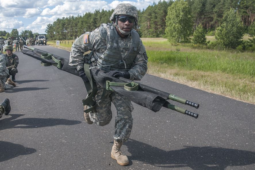 American soldier training in Poland