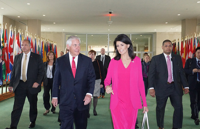 Tillerson en Haley at UN 2017