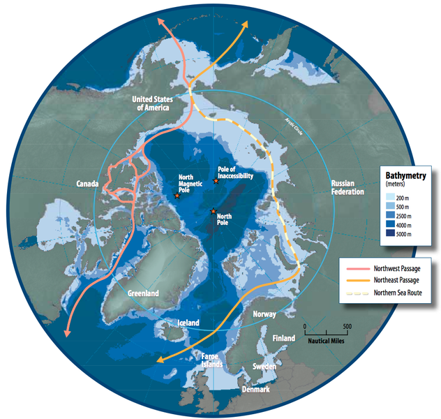 map of the arctic region showing the northeast passage the northern sea route and northwest passage and bathymetry