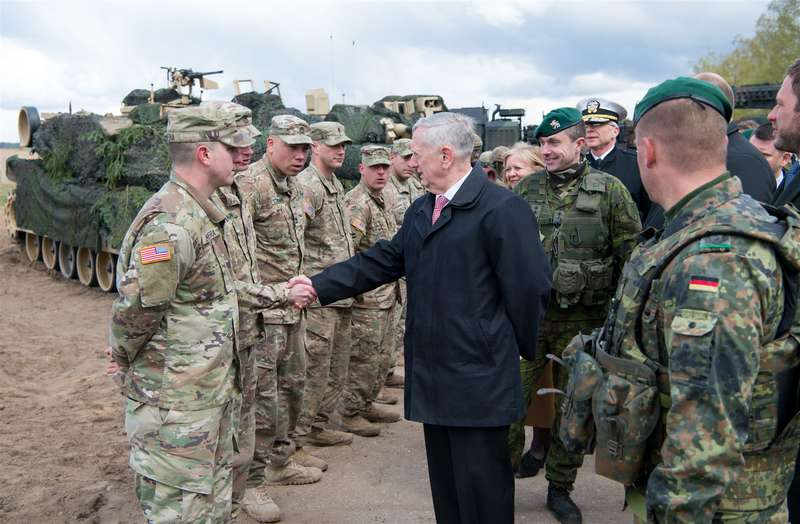 mattis with nato troops in europe
