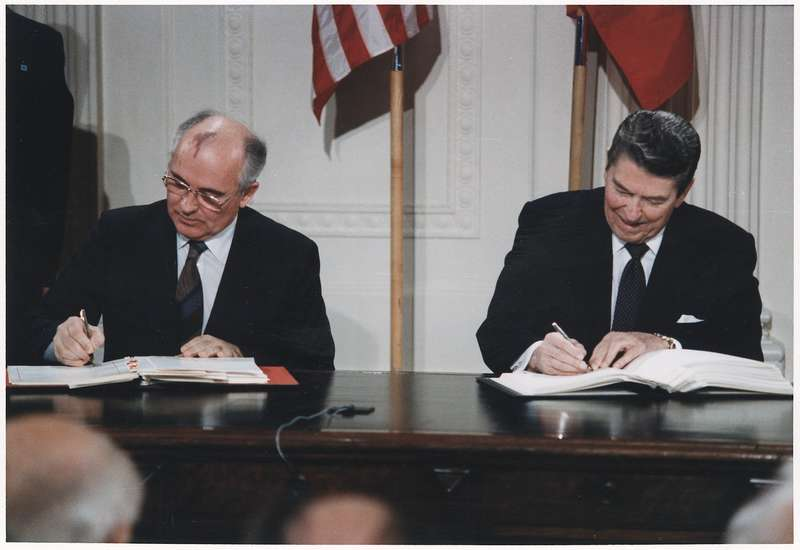 lossy page1 1200px photograph of president reagan and general secretary gorbachev signing the inf treaty in the east room of the white nara 198588.tif 1