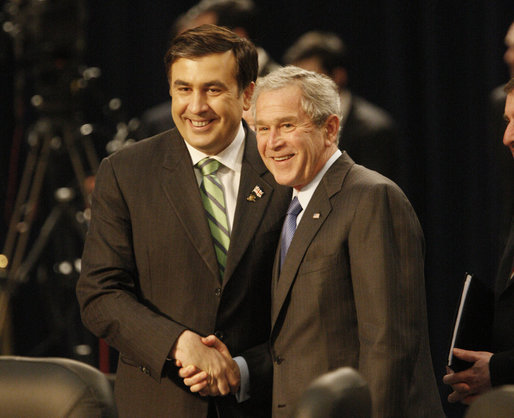 bush and saakashvili nato summit 2008