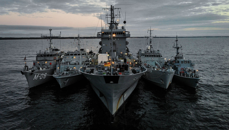 Five ships line up alongside each other during BALTOPS 2020. From left to right LVNS Tālivaldis (Latvia), ENS Sakala (estonia), FGS Werra (Germany), ENS Wambola (Estonia), ORP Druzno (Poland). The maritime exercise BALTOPS 2020 involved around 30 ships from 19 NATO Allies and partner nations. It's an annual exercise and it ran from 7-16 June 2020.