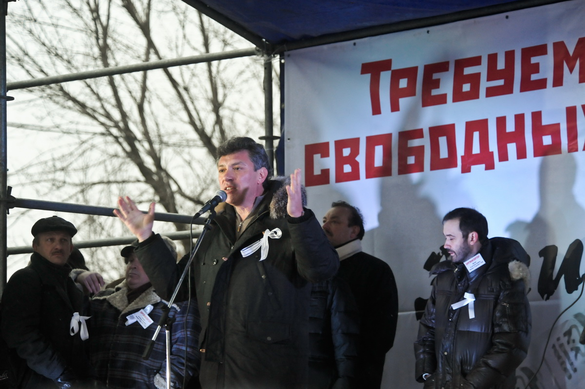 Bolotnya.Boris Nemtsov at the Moscow rally at the Bolotnaya square 10 Dec 2011